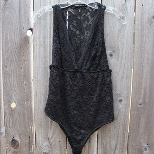 Lacy Bodysuit with a Deep-V Neckline